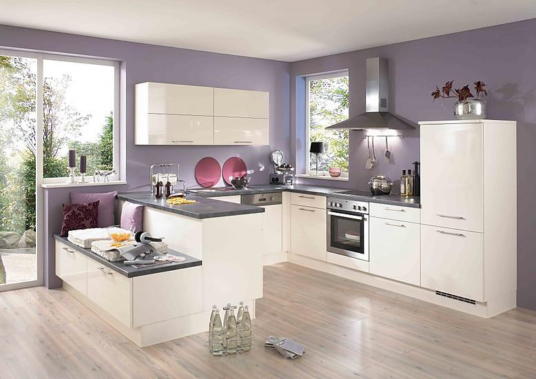 Bevorzugt Weiße U-Küche mit Sitzmöglichkeit WV97